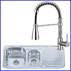 1.5 Bowl Stainless Steel Reversible Kitchen Sink And Pro Mixer Tap Pack (KST059)