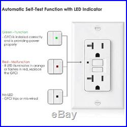 10 Pack BESTTEN 20-Amp GFCI Outlets, Slim GFI Receptacles with LED Indicator