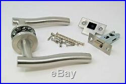 12 X Stainless Wave Door Handle Pack Latch Set Satin Stainless Steel
