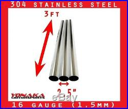 2.5 Stainless Polished Exhaust Straight Pipe Piping Tube 16 Gauge 3 FEET 3-PACK
