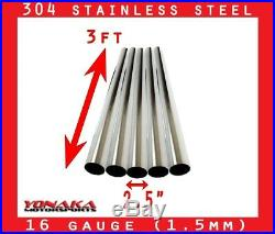 2.5 Stainless Polished Exhaust Straight Pipe Piping Tube 16 Gauge 3 FEET 5-PACK