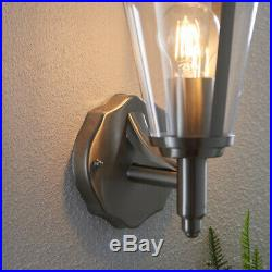 2 PACK IP44 Outdoor Wall Lamp Stainless Steel Traditional LanternPorch Uplight