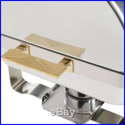2 PACK Roll Top Stainless Steel DELUXE Chafer Chafing Dish Sets 8 QT Full Size