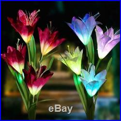 2 Pack Solar Garden Lights Lily Flowers Stake Lamp For Yard Outdoor Patio Decor