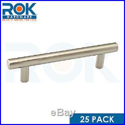 25 Pack 5-3/8 Euro Style Brushed Nickel Pull / Handle 3-3/4 Hole Centers Heavy