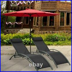 2Pack Outdoor Patio Adjustable Chaise Lounge Reclining Beach Sun Beach Pool Lawn