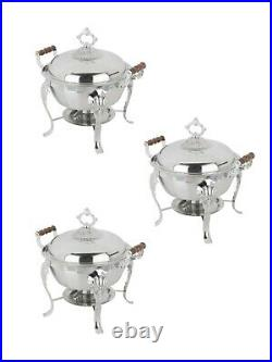 3 Count Stainless Steel Classic 5 Qt. Half Size Buffet Round Chafing Dish
