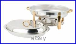 3 PACK 6 Qt Restaurant Oval Chafer Chafing Dish Set Stainless Steel Commercial