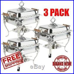 3 Pack Catering Classic Stainless Steel Chafer Chafing Dish Set 4 Qt Buffet CPS