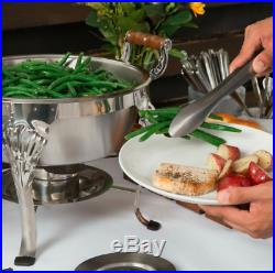 (3 Pack) Classic Round 1/2 Size 5 Qt. Stainless Steel Chafing Dish Buffet Cater