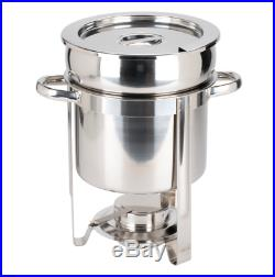 (3/Pack) Deluxe 7 qt. Soup Chafer / Marmite Stainless Steel Round Chafing Dish
