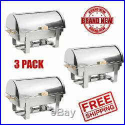 3 Pack Roll Top Stainless Steel Deluxe Chafer Chafing Dish Sets 8Qt FullSize CPS