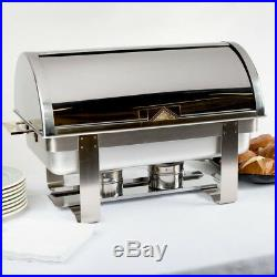 3 Pack Stainless Steel 8 Qt Full Size Roll Top Buffet Catering Chafer Dish Set