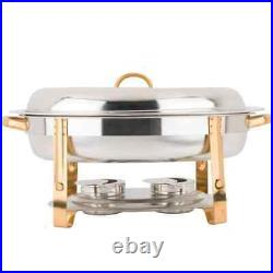 4 PACK Deluxe 6 Qt Gold Stainless Steel Oval Chafer Chafing Dish Set Full Size