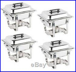 4 Pack Catering Stainless Steel Chafer Chafing Dish Set 4 Qt Half Size Buffet