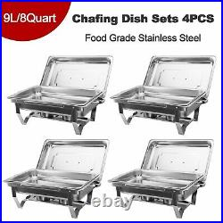 4 Pack Chafer Chafing Dish Sets Pans Stainless Food Warmer Steel Catering 9L/8Q