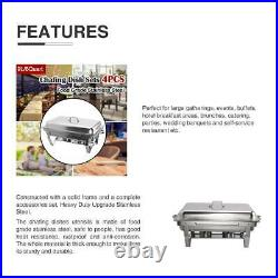 4 Pack Chafer Chafing Dish Sets Pans Stainless Steel Catering Food Warmer 9L/8Q
