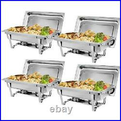 4 Pack Chafing Dish Buffet Set With Water Food Pan Lid For Catering Warmer Set
