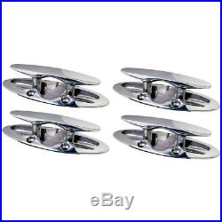 4 Pack of 6 Inch Flush Mount Stainless Steel Pull Up Boat Cleats