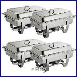 4X Olympia Milan Chafing Set Four Pack 317.5X635X102mm 18/0 Stainless Steel D