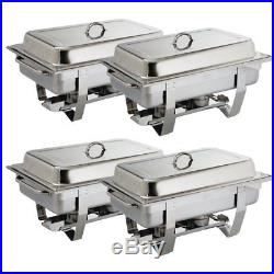 4X Olympia Milan Chafing Set Four Pack 317.5X635X102mm 18/0 Stainless Steel Dish