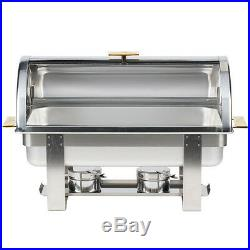 5 PACK Roll Top Stainless Steel DELUXE Chafer Chafing Dish Sets 8 QT Full Size