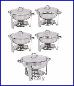 5-Pack Round Chafing Dish Buffet Chafer Warmer Set withLid 5 Quart, Stainless Steel