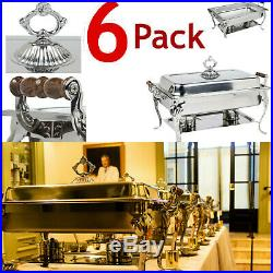 6 PACK Catering Classic STAINLESS STEEL Chafer Chafing Dish Set 8 QT Buffet Full