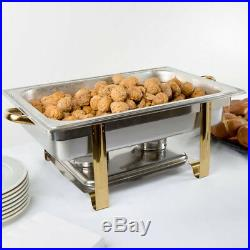 6 PACK Deluxe Full Size 8 Qt Gold Stainless Steel Buffet Chafer Chafing Dish Set