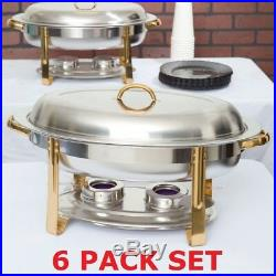 6 PACK SET Stainless Steel Choice Deluxe Buffet 6 Qt Oval Gold Accent Chafer