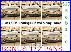 6-Pack Full Size 8 Qt. Stainless Chafing Dishes Folding Frames Rebate + 1/2 pans