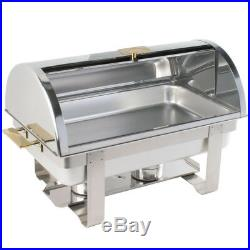 6 Pack Stainless Steel 8 Qt Full Size Roll Top Buffet Catering Chafer Dish Set