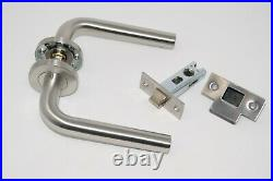 8 SETS STRAIGHT DOOR HANDLE Latch Pack + 2 SET Bathroom Pack Satin Stainless