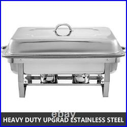 9L/8Q 4 Pack Chafer Chafing Dish Sets Pans Stainless Steel Catering Food Warmer