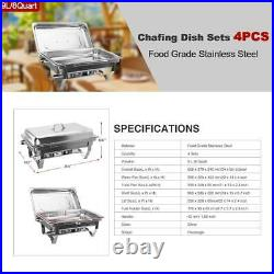 9L/8Q 4 Pack Chafer Chafing Steel Catering Food Warmer Dish Sets Pans Stainless