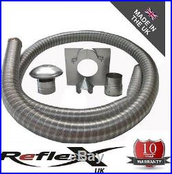 9mtr 5 Flexible Multi Fuel Stove Flue Liner Pack/Kit Stainless Steel Class 1