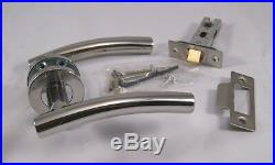 Arched Door Handle Pack (Internal Latch Set) Polished Stainless Steel x9