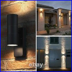 Black Automatic Up/Down Dusk To Dawn Outdoor Security Outside Wall Light Fitting