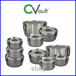 CVault Stainless Steel Fresh Storage/Curing Containers + Boveda Humidity Pack