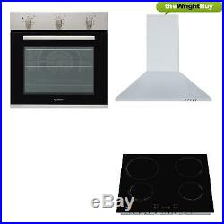Candy CEHOPK60X/E Electric Single Oven, Ceramic Hob & Cookology Hood Pack