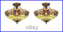Chloe CH33353VR16-UF2 Tiffany-style 2 Light Semi-flush Ceiling Fixture 2 Pack