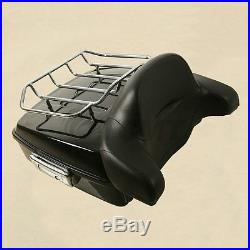 Chopped Tour Pak Pack Trunk Backrest & 2-Up Mount Rack For Harley Touring 14-18