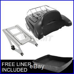 Chopped Tour Pak Pack Trunk Backrest +Two Up Rack For Harley Road King 2014-2018