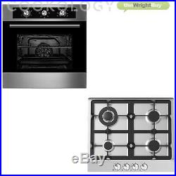 Cookology 60cm Built-in Electric Fan Oven & Gas Hob Pack in Stainless Steel