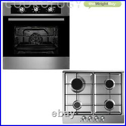 Cookology 60cm Built-in Electric Fan Oven, Gas Hob & T-Shape Box Hood Pack
