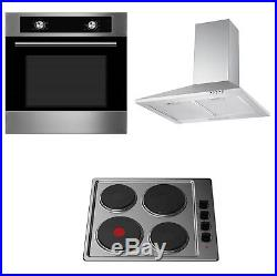 Cookology 60cm Built-in Static Oven, Electric Hob & S/Steel Cooker Hood Pack