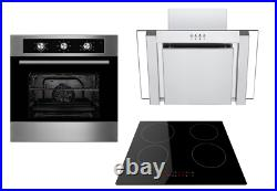 Cookology 60cm Electric Fan Oven, Induction Hob & Angled Glass Cooker Hood Pack