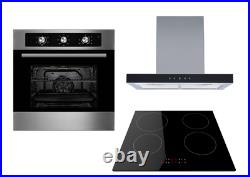 Cookology 60cm Electric Fan Oven, Induction Hob & Linear Touch Cooker Hood Pack