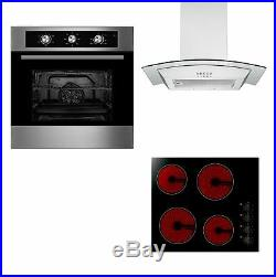 Cookology 60cm Electric Fan Oven, Knob Control Ceramic Hob & Glass Hood Pack