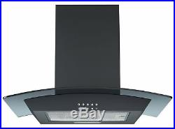 Cookology Black Electric Fan Oven, Touch Ceramic Hob & Curved Cooker Hood Pack